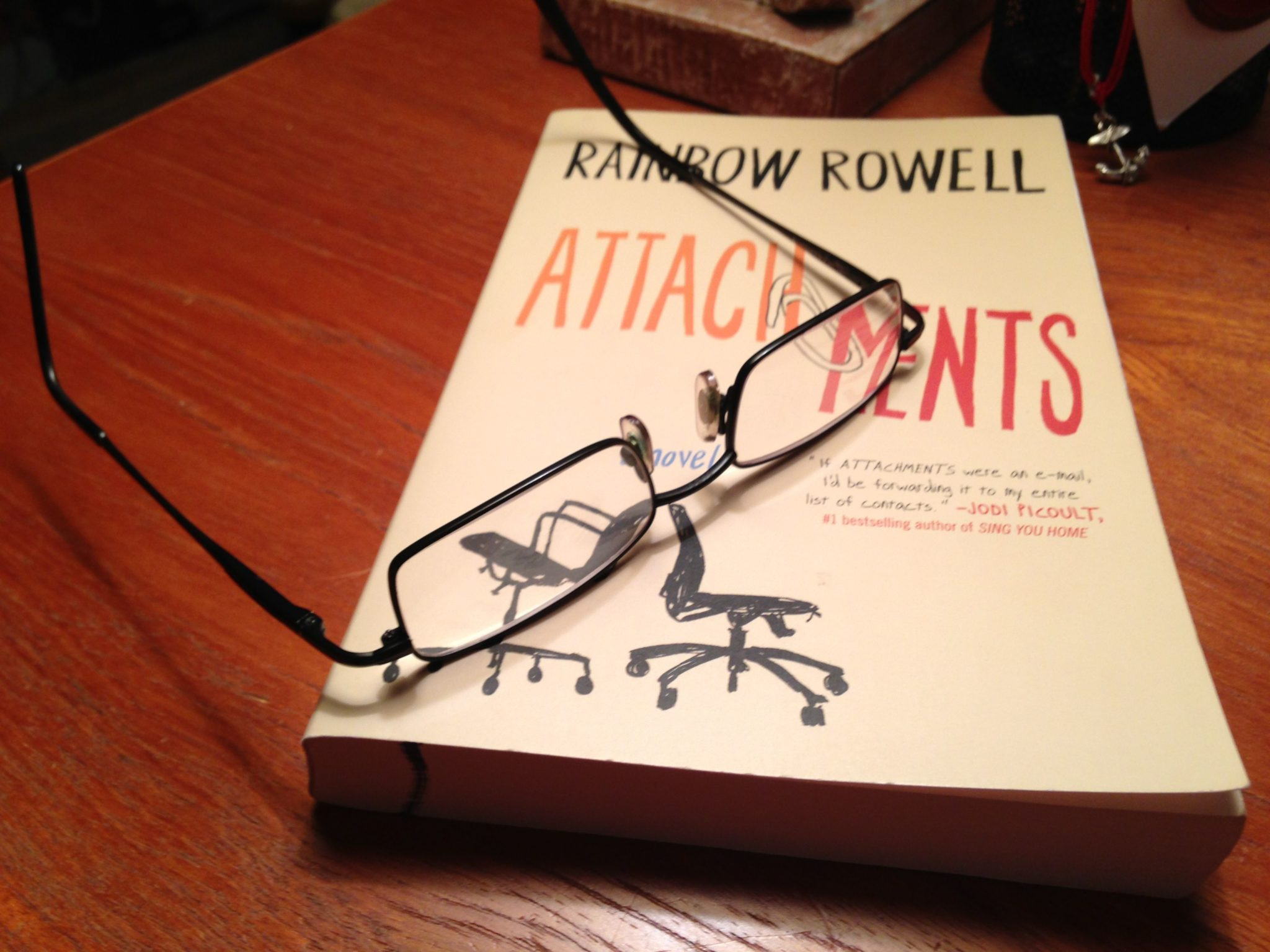 On my nightstand:  'Attachments: A novel'